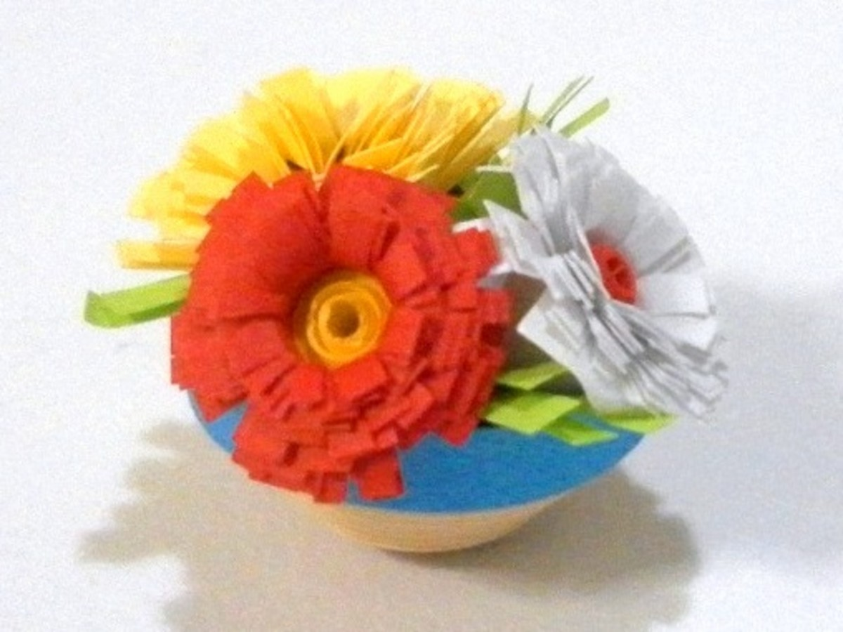 Paper quilling how to make fringed flowers for quilled designs and pot of flowers mightylinksfo