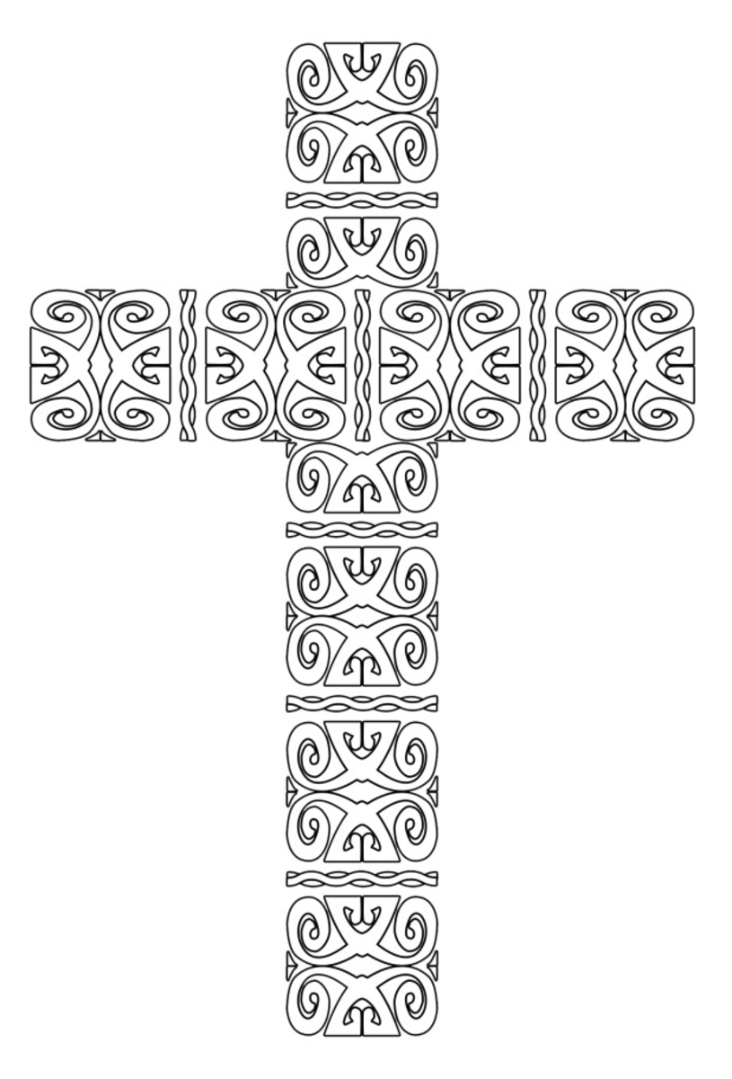 Printable Cross Coloring Page Ornate Pattern