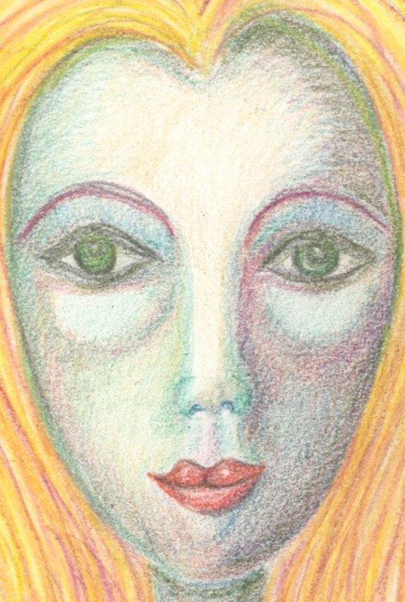 Face painted with dry Inktense pencils.