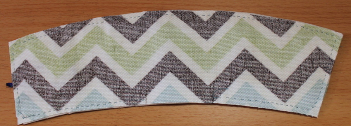 Completed sandwich with marked space to leave a gap in the sewing