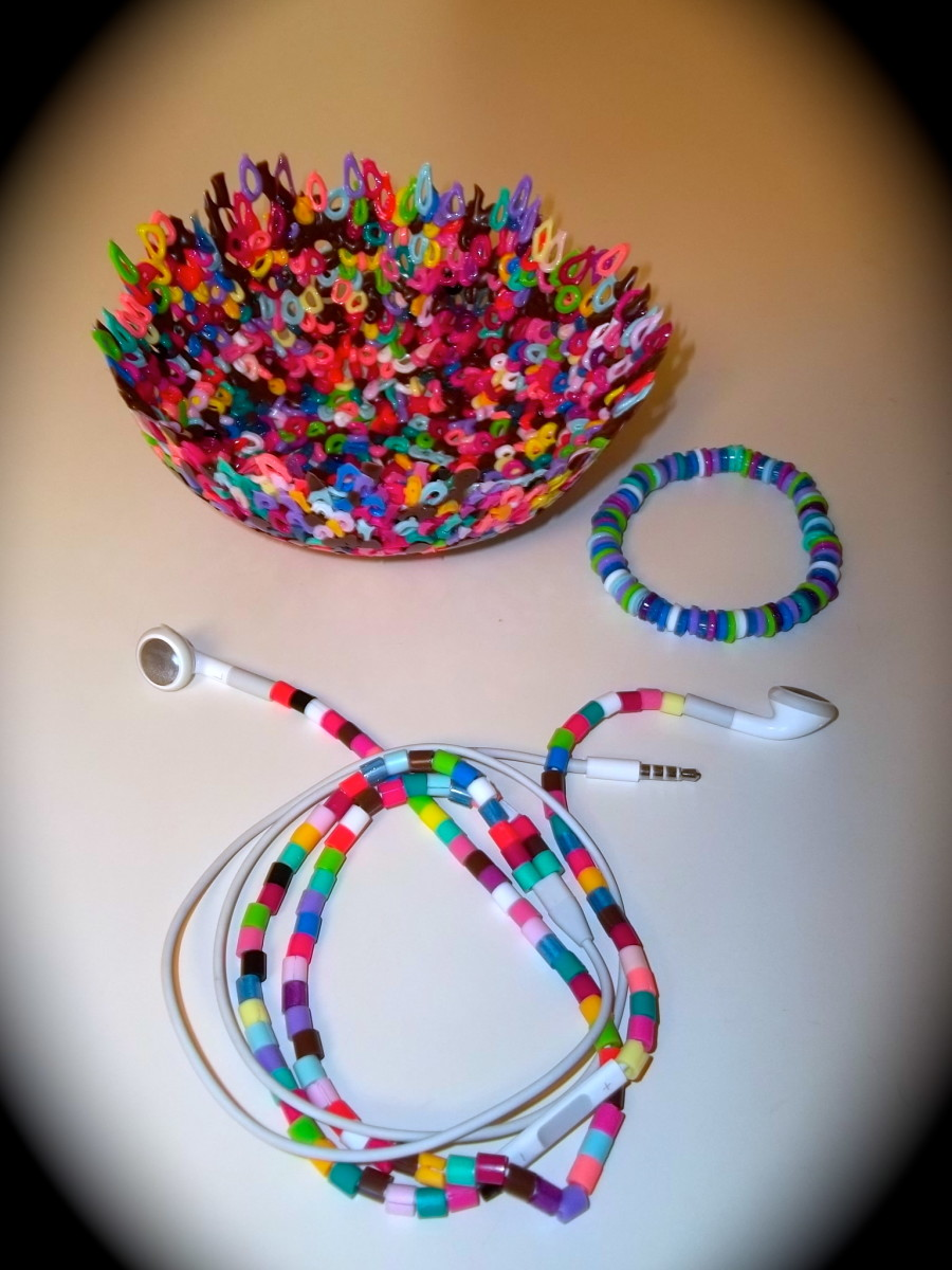Bowl, bracelet, and earbud covers made from Perler beads
