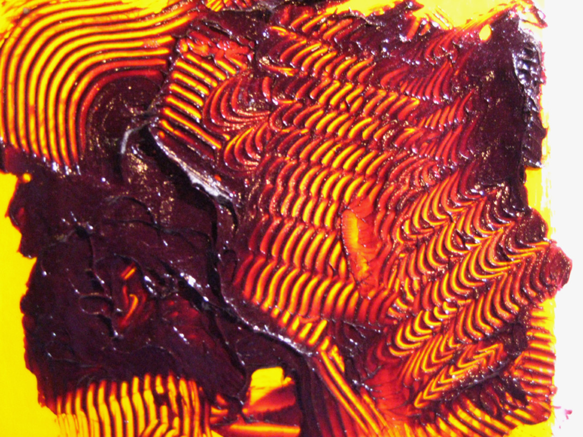 Heavy body acrylic paint thickened with heavy gel gloss allows for deep incisions, called Sgraffito.