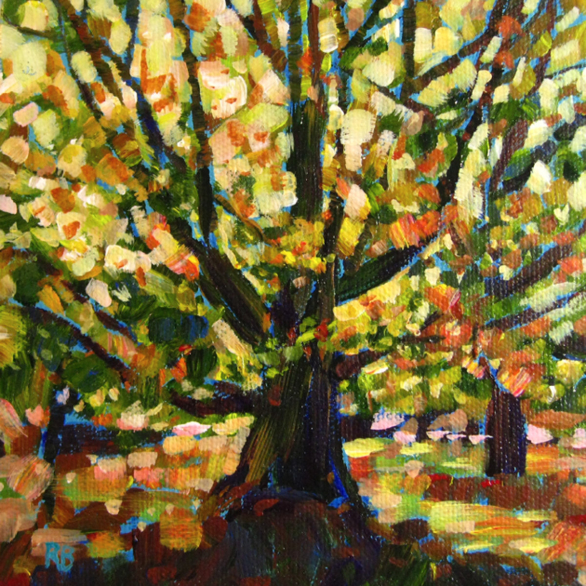 "Vibrant and loose brushstrokes create a sense of freedom and movement. ""Vibrant Tree I"", by Robie Benve"