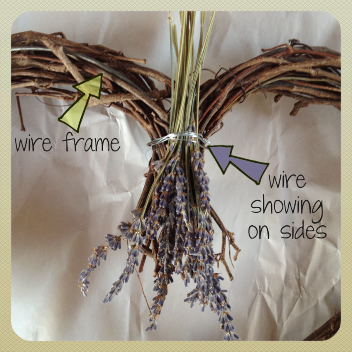Attach lavender bunches to the wire frame of the heart to keep your wreath secure and lovely.
