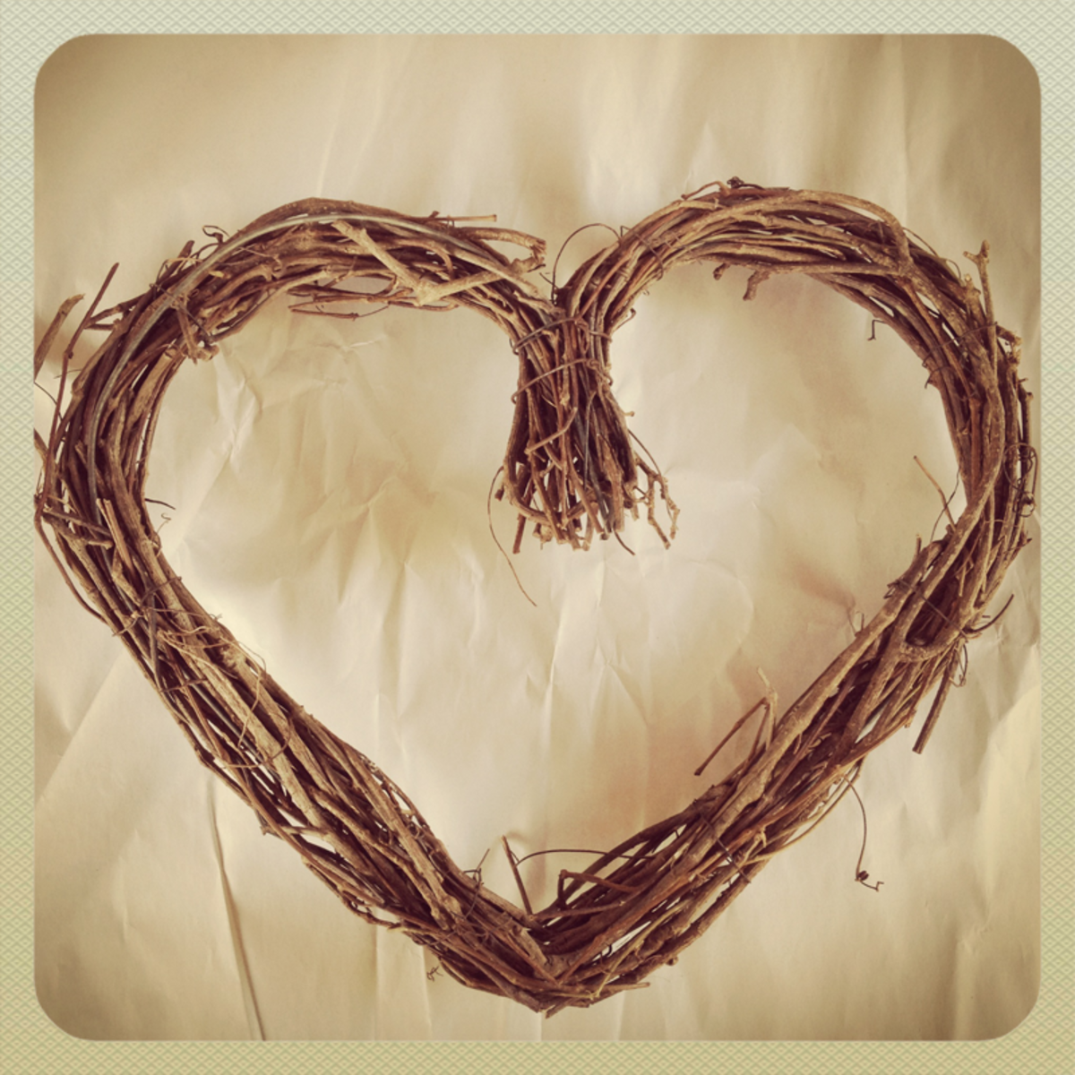 Heart-shaped grapevine wreath from Michael's craft store