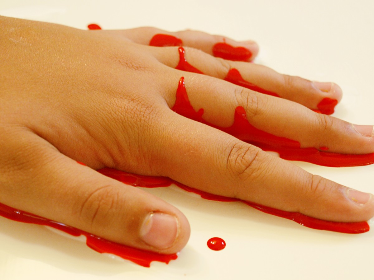 Pressing your bloody hand into the plain glue bases to around an eight of an inch thick.