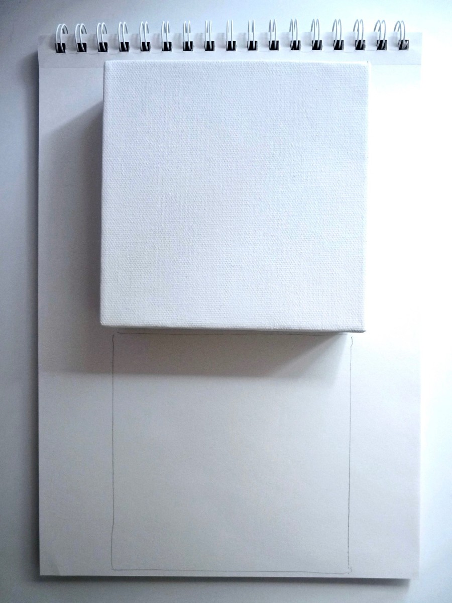 Outline the small canvas on a sketch pad as a guide.