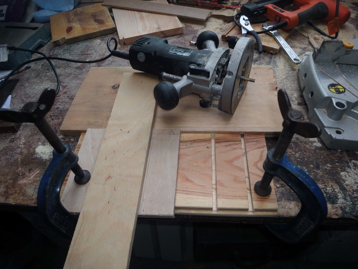 Using the jig to cut the runner slots