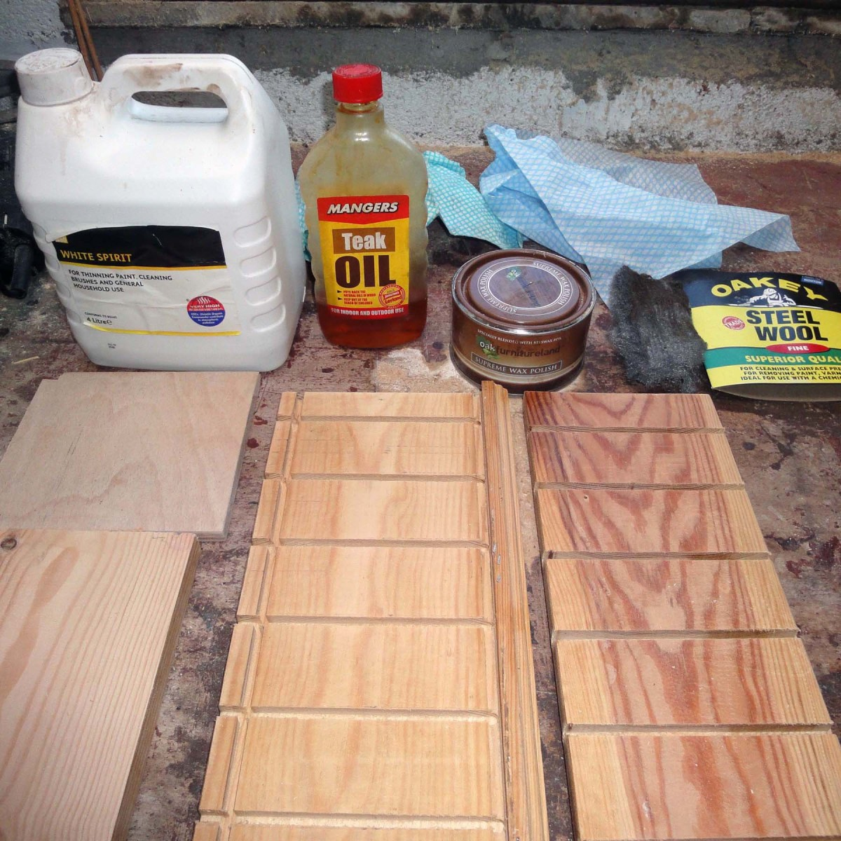 White spirit, Teak Oil and Beeswax for final clean and polish