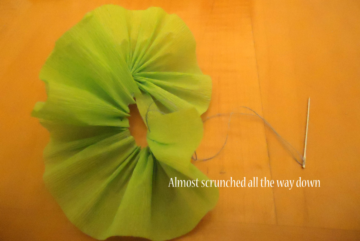 scrunch crepe paper down