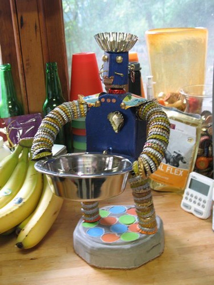 Check out this bottle cap man. The creator dubbed him Captain Corona.