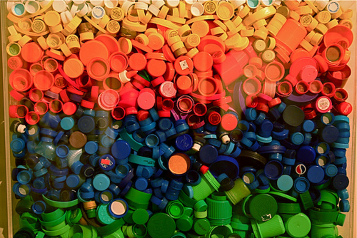 One natural way to add more color to your bottle cap crafts is to seek out caps in vivid shades.