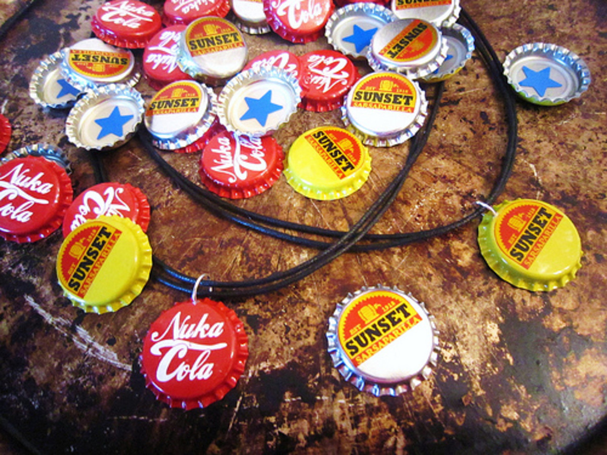 Create simple button cap necklaces with genuine metal caps by punching a hole in the top, attaching a jump ring, and stringing a cord or chain through it.