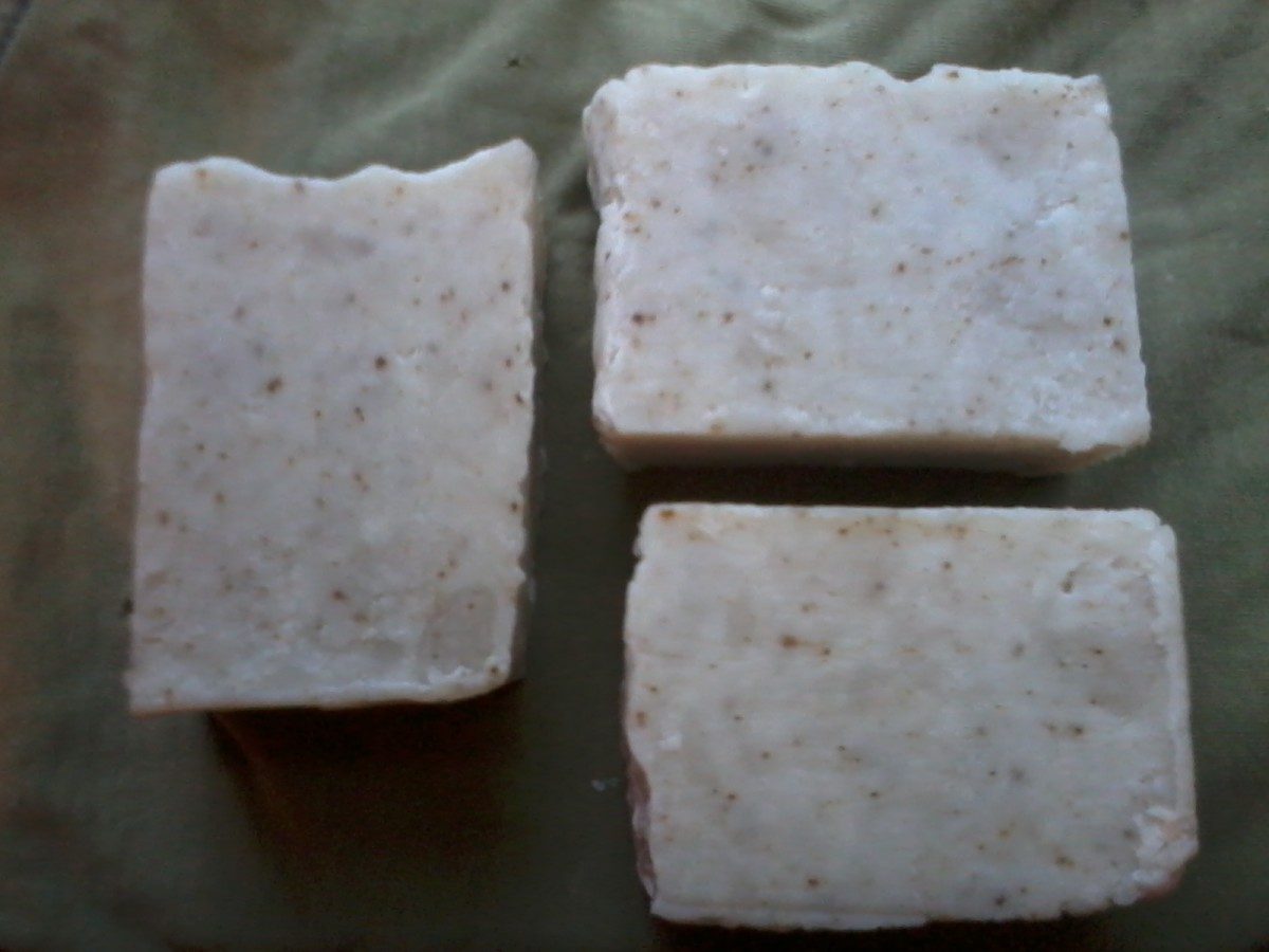 """Guess I'll have to find another way to make green soap! This kelp powder recipe turned out white-grey, with brownish flecks. David decided I should call it """"Alpine Forest Soap"""" - smells like a pine forest, looks like winter."""