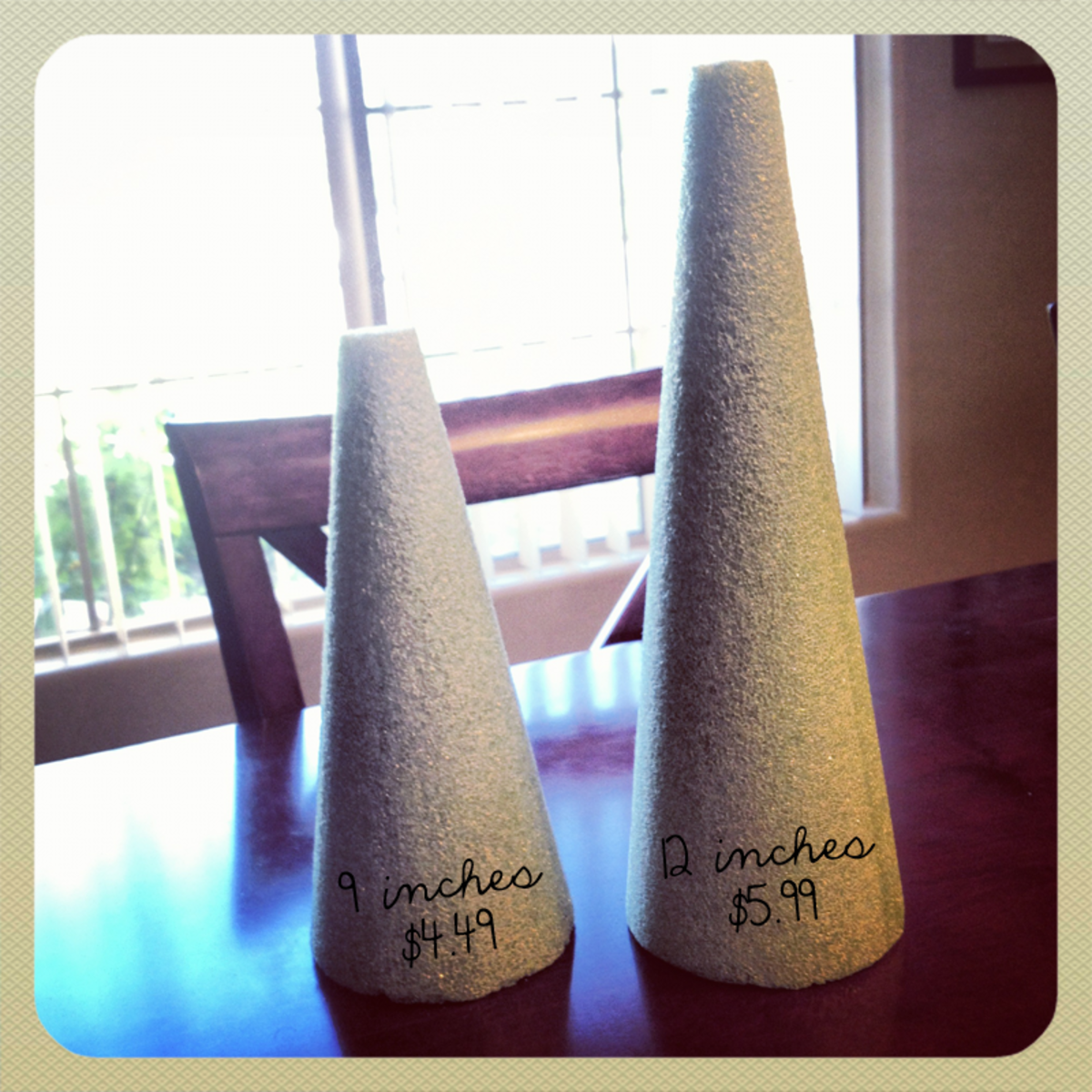 Green Styrofoam cones purchased at Michael's.