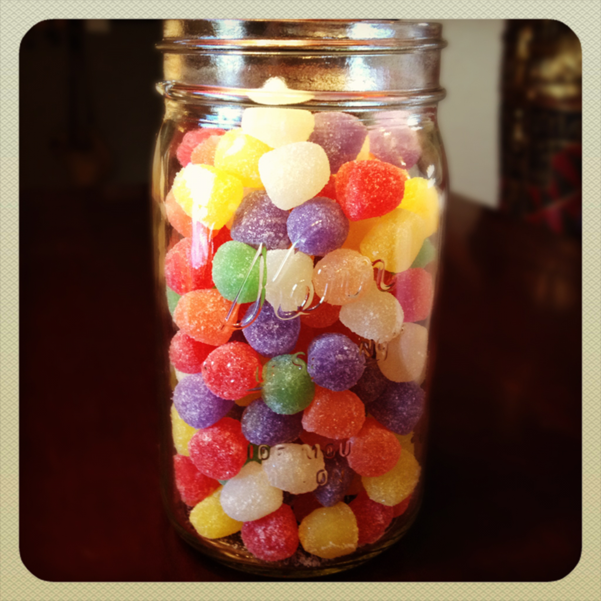candy gumdrops in mason jar