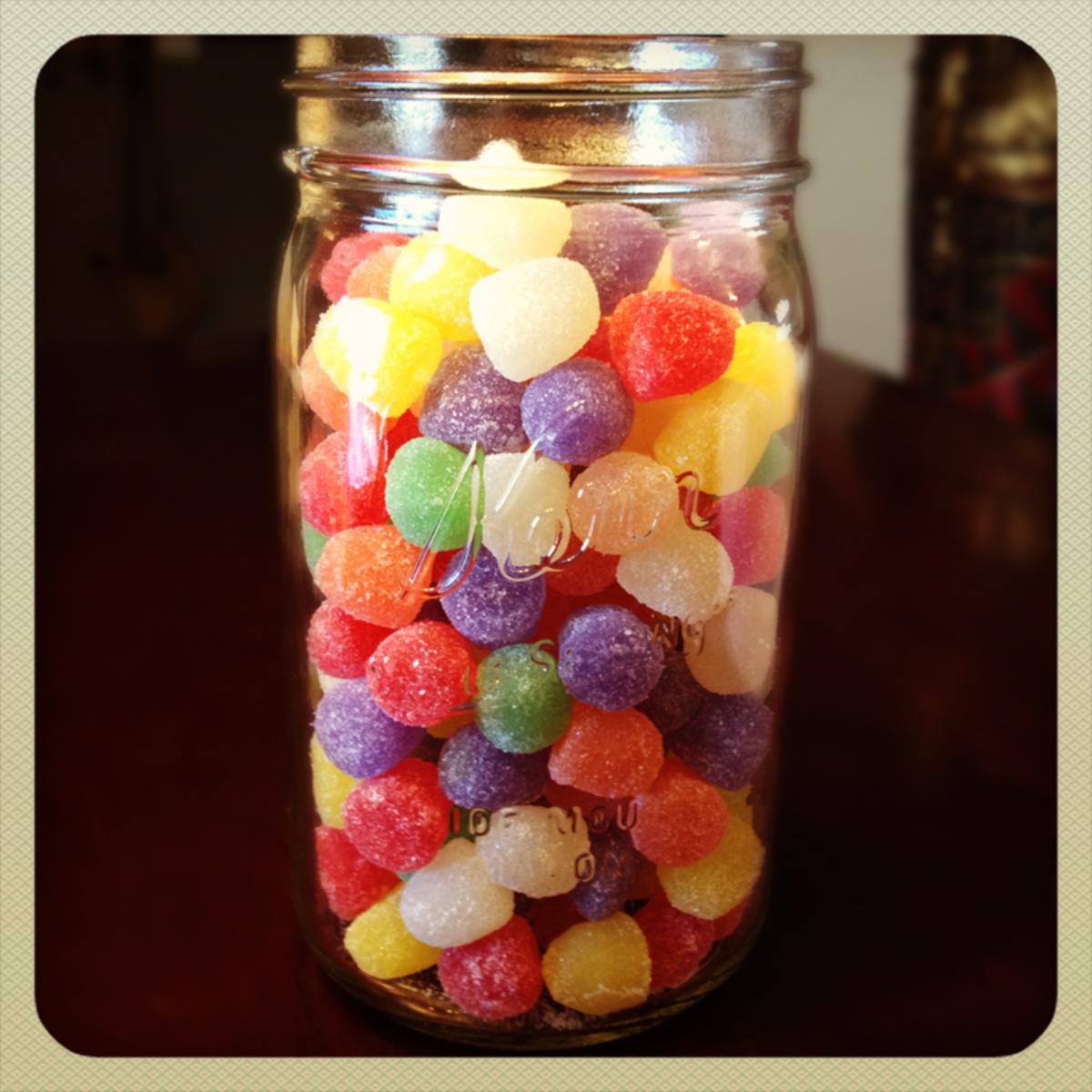 Candy gumdrops in a mason jar.