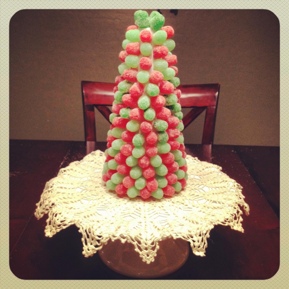 red and green gum drop Christmas Tree