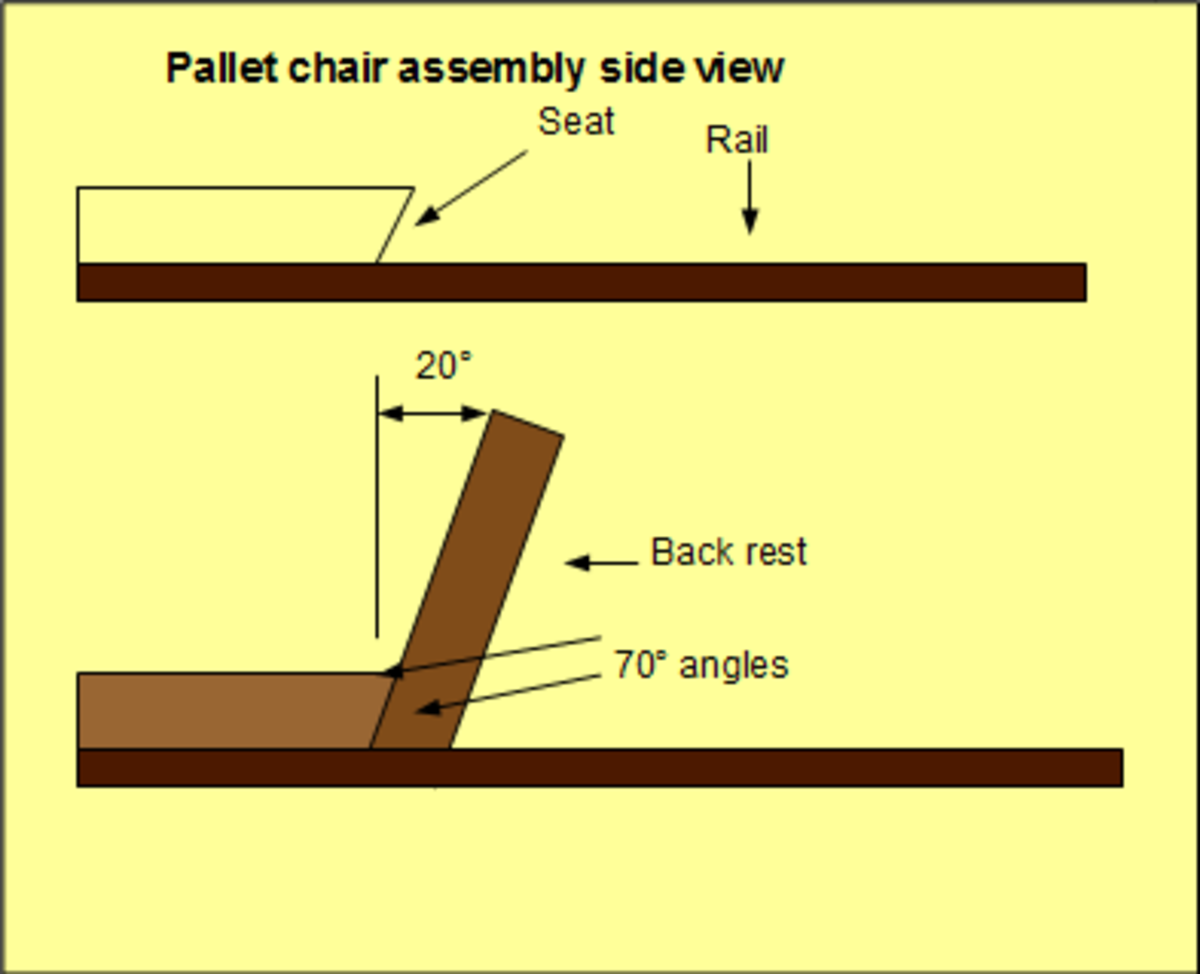 Attach the seat and back rest of the pallet chair to the rails using a pre-installed nailer and some screws.