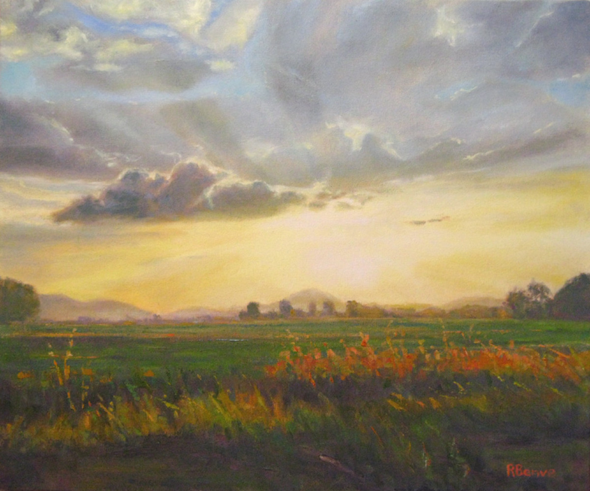Atmospheric perspective is achieved by using less intense, more neutral color as you move back through the painting, the sky color is mixed into the color of the object. Also, notice the use of stronger value contrast in the foreground.