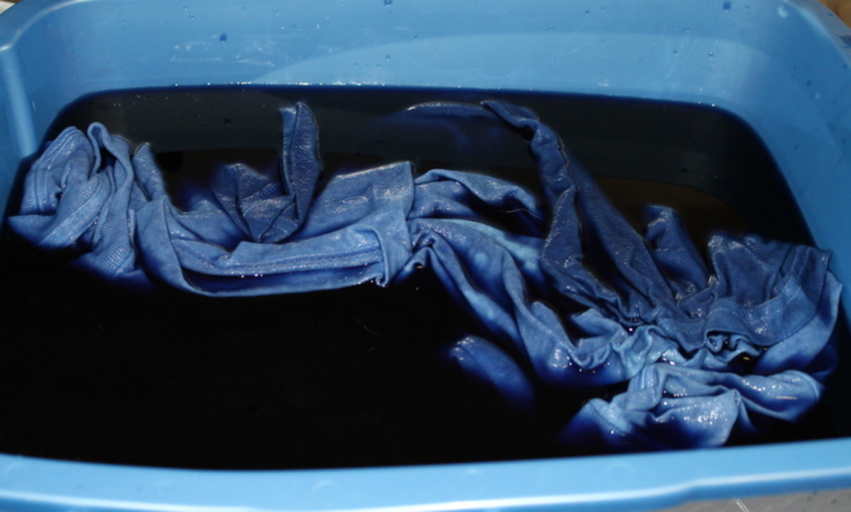 Don't let the textiles float to the top unless you want an uneven dye job. Hold them 'under water.'