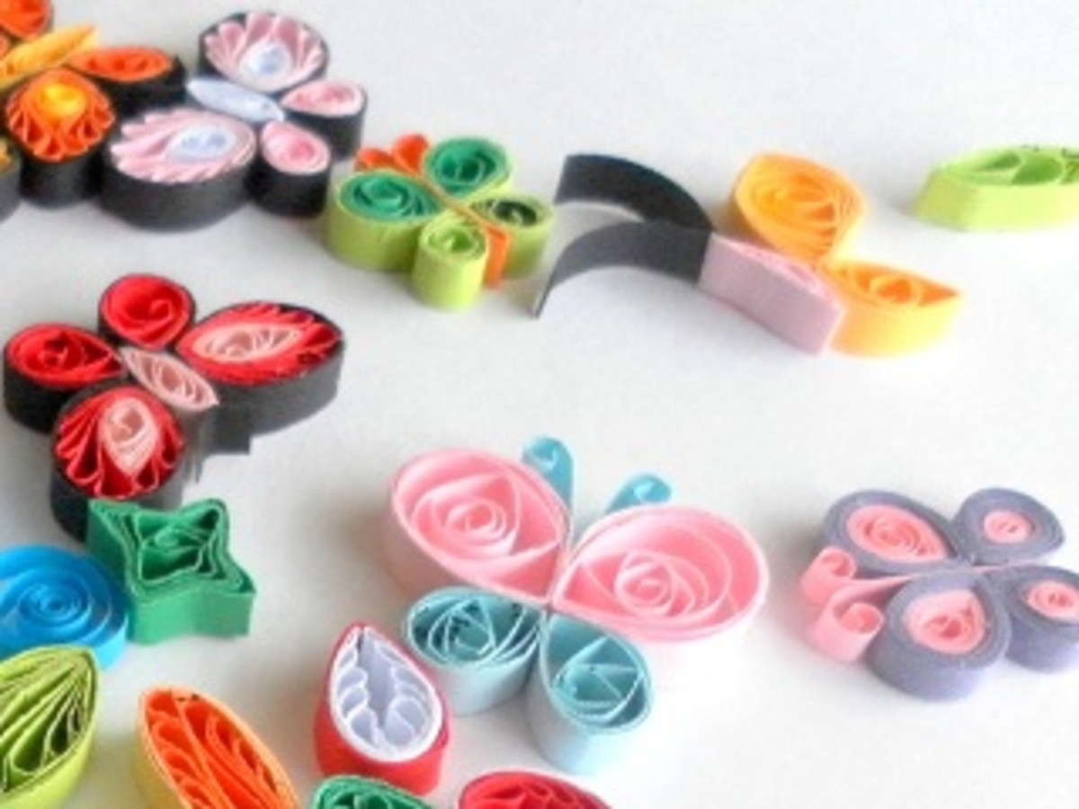 Quilled butterflies and coils