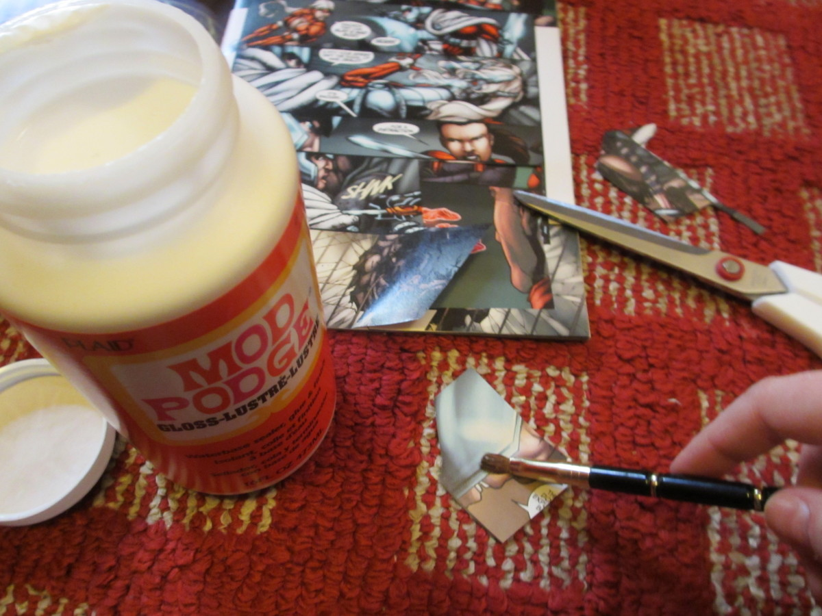 Paint the back of the comic book clippings with a thin coat of Mod Podge.
