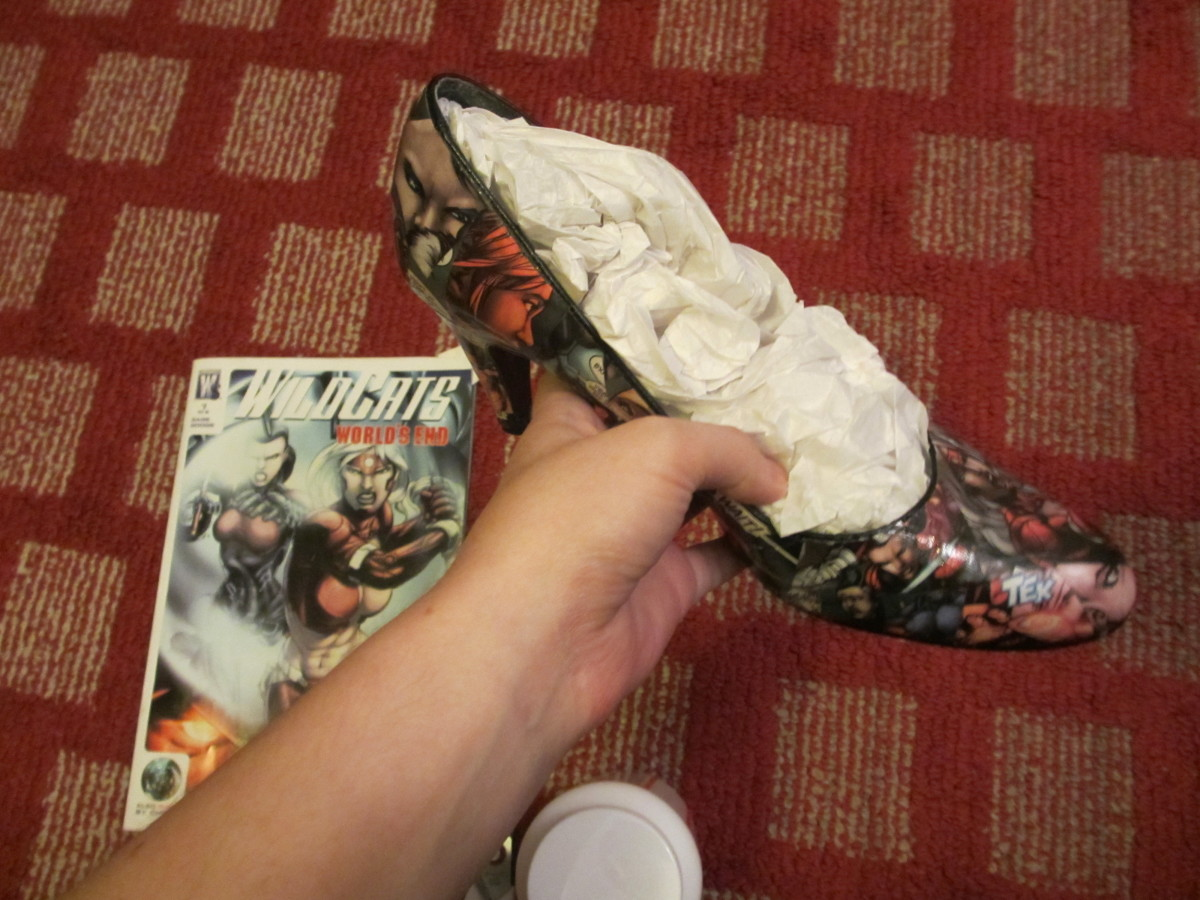 Stuff the shoes with tissue paper or newspaper to prevent the clear acrylic from getting on the inside.