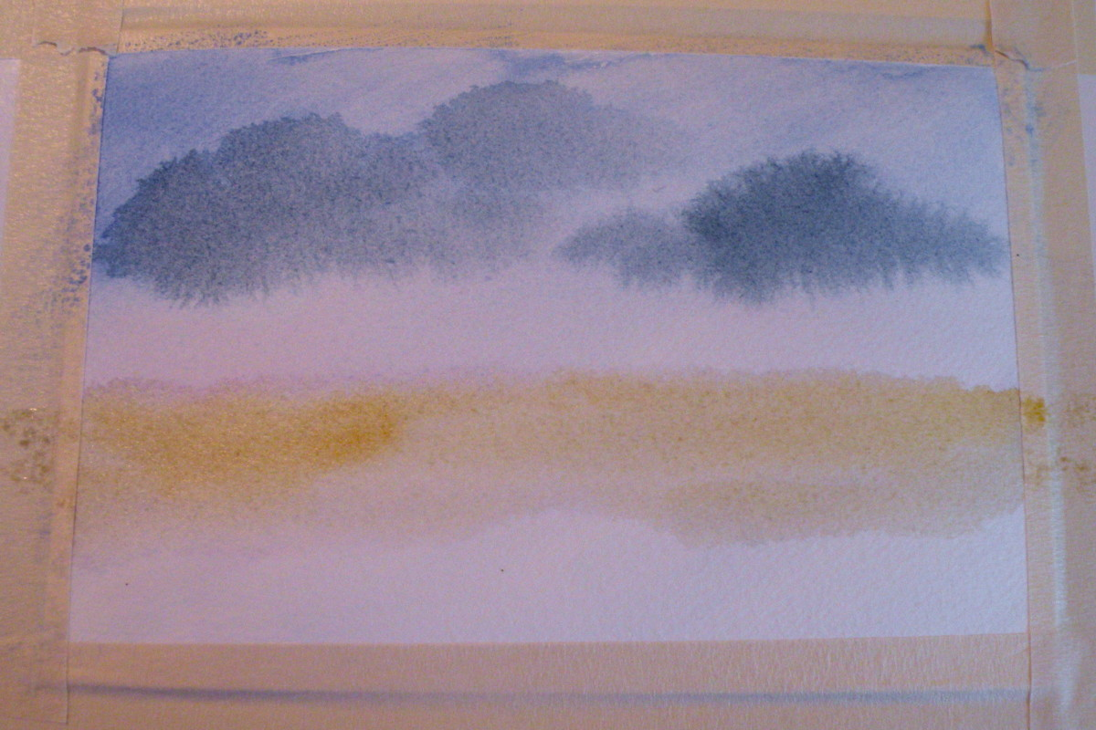 Paint a wet yellow ocher to strip at the horizon line.
