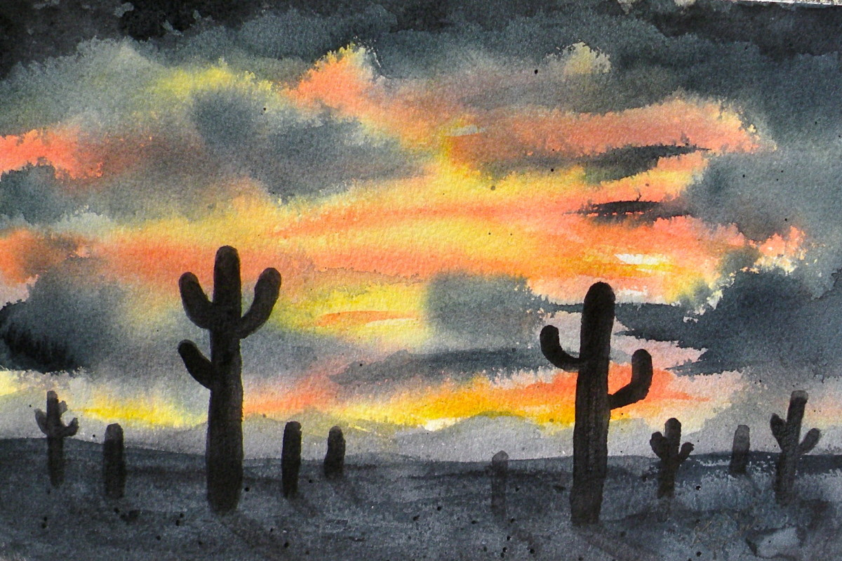 Desert Sunset Watercolor by Stephanie Henkel.