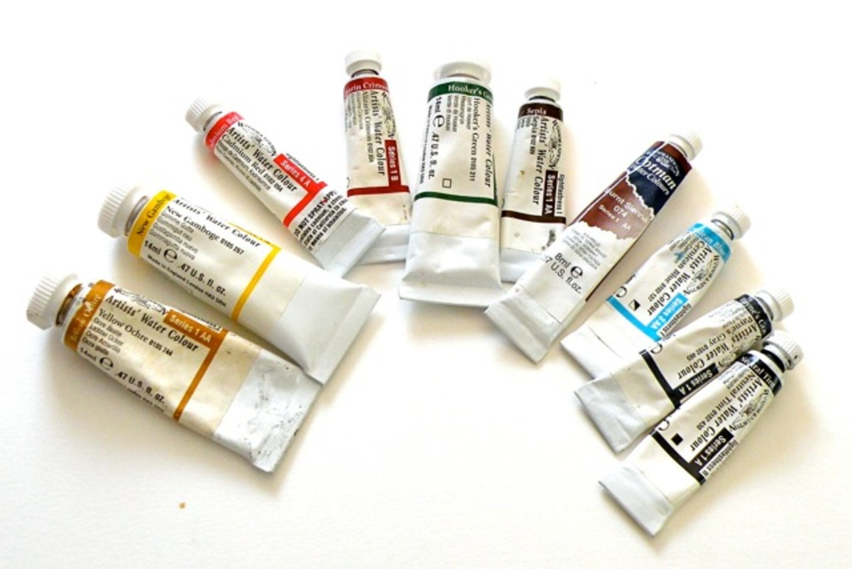 Start with eight to ten basic watercolors. I like Windsor Newton tubes, professional grade.