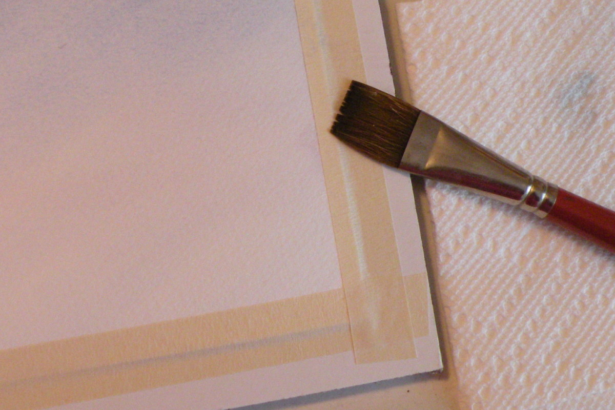 "Tape paper to board, then use 1"" brush to wet paper evenly with clear water."
