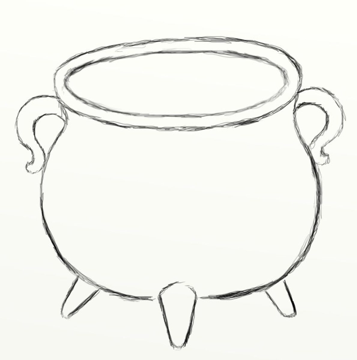 Now draw the legs on the outer portion of the cauldron just 1 leg on either side of the belly