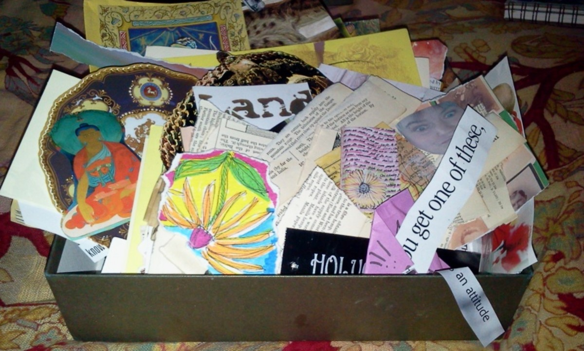 Collage scrap box. Some people are far more organized and keep their cut-outs neatly filed by color or category.