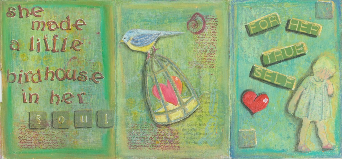 """I drew the birdcage and heart and glued them. Look closely, you can also see some printed text under the cage.  """"For her true self"""" was printed out, colored, and pasted onto the page. The little girl came from a vintage woman's magazine."""