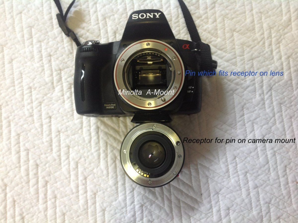 The blue and black captions show the connection between the camera body and the lens that causes the auto focus on the lens to operate.