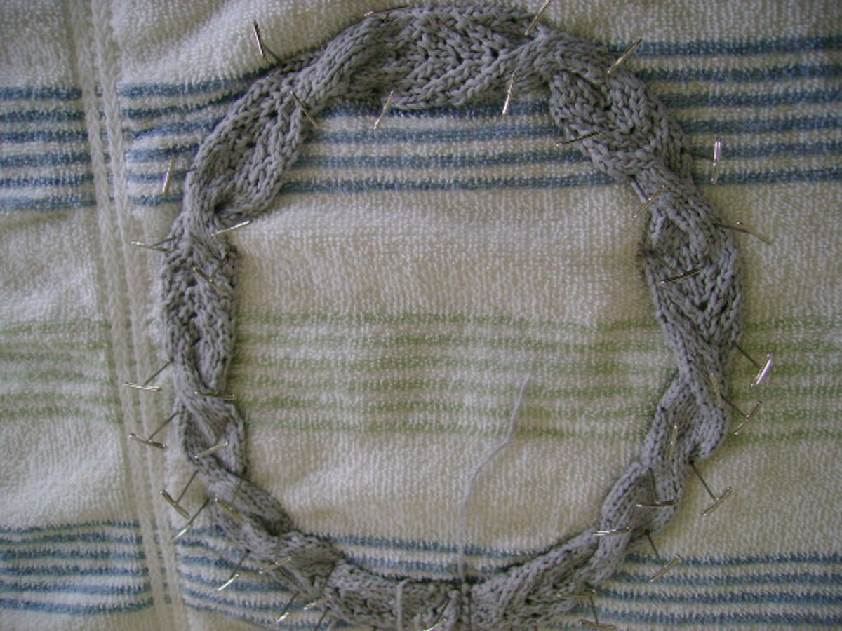 Blocking your finished knitted necklace.