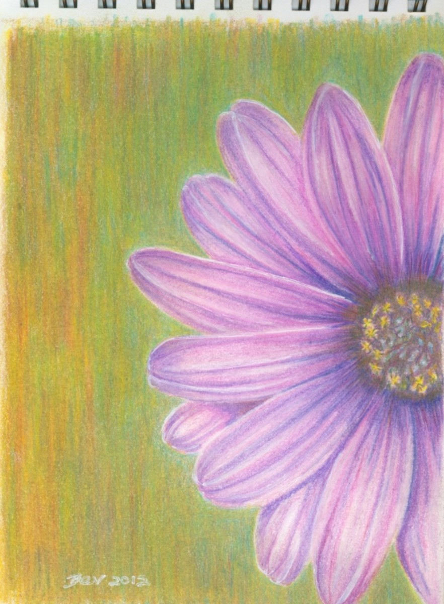 The finished flower painting, ready for framing.