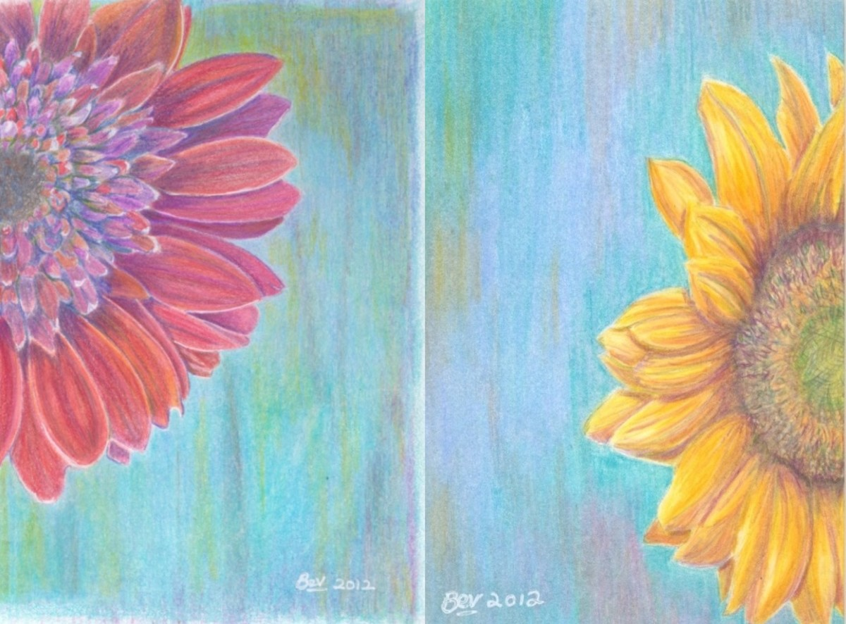 The two flower paintings for my mother's birthday.