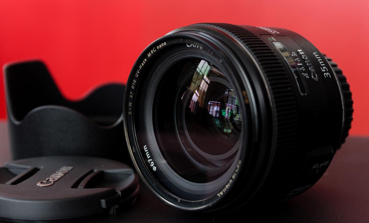 Canon EF 35mm f/4 IS USM lens.