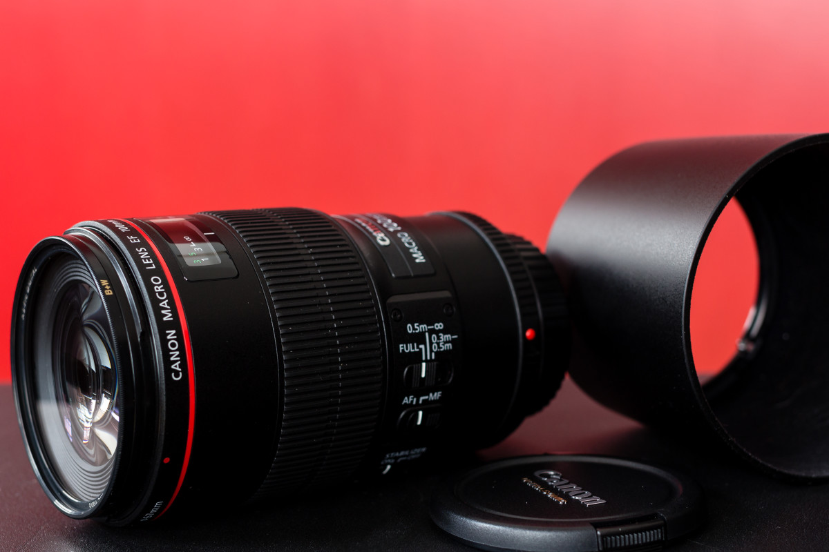 Canon's 100mm f/2.8L IS USM Macro lens, with hood.