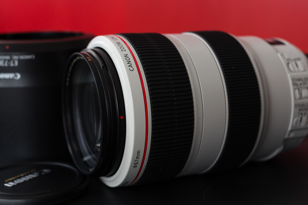 Canon EF 70-300mm f/4-5.6L IS USM lens, with lens hood.