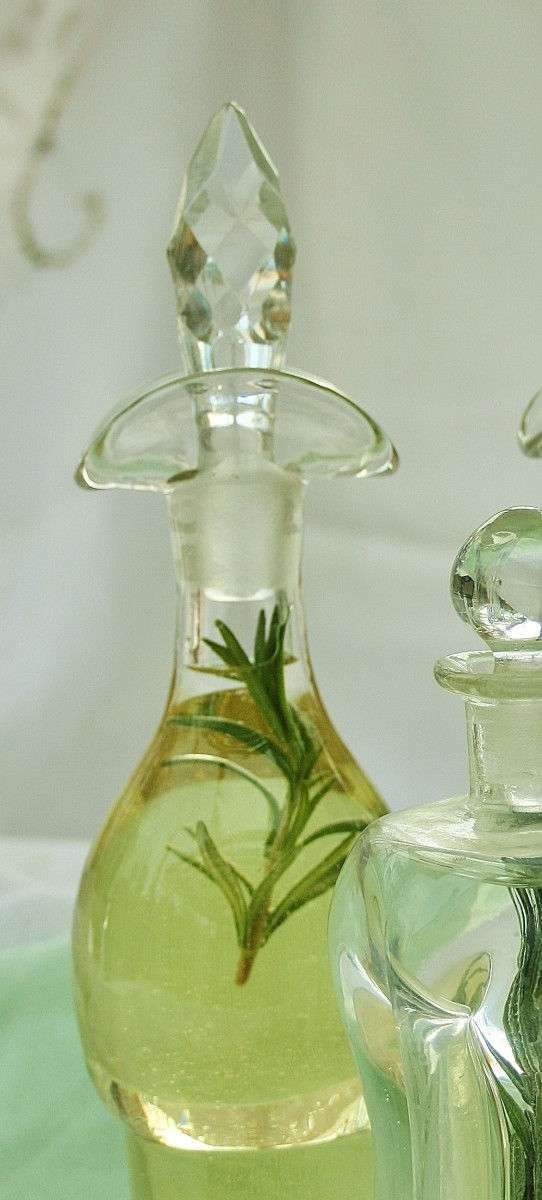 Rosemary oil looks pretty in a decanter from an old cruet set.