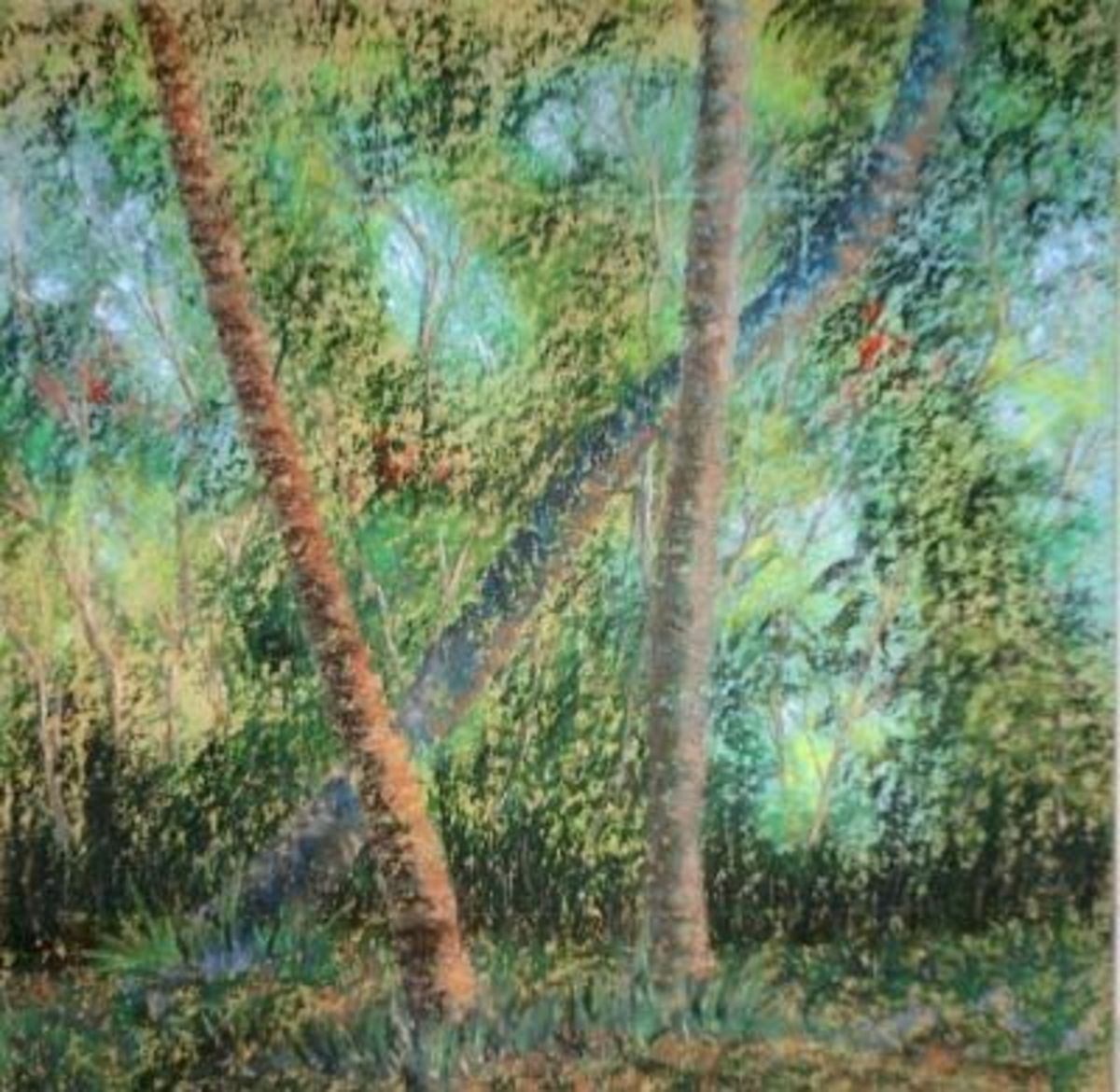 Let's Take a Quick Count: A falling tree, pastel painting