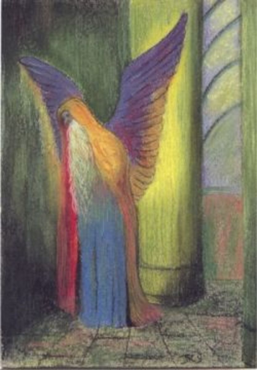 The winged man - pastel after Redon