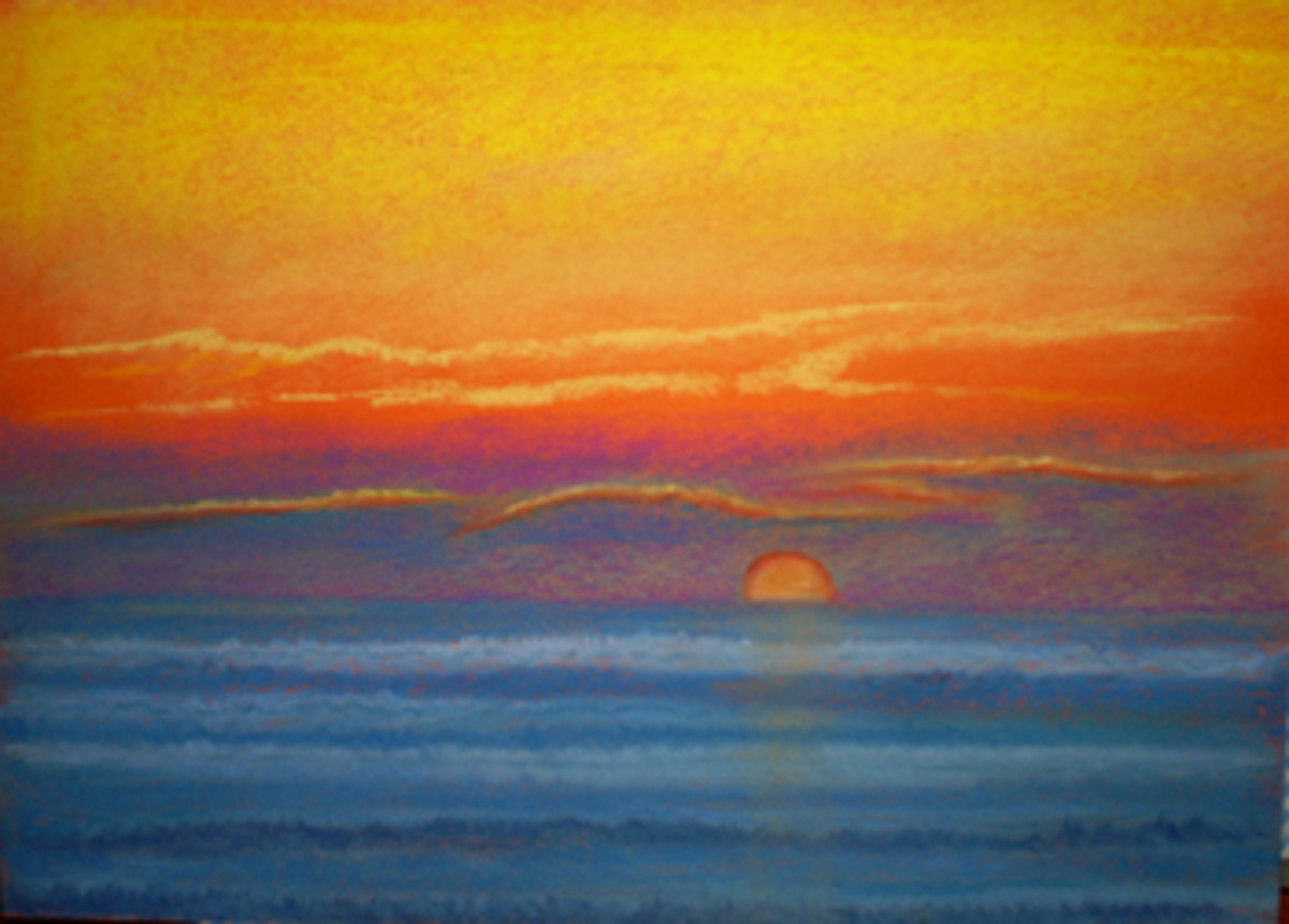 Sunset at Sea: This one is very colourful, did I say that this is why I like pastels? A sunset at sea, I enjoyed painting this one.