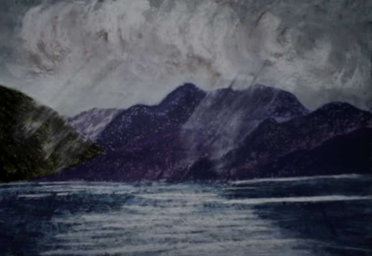 This painting is a further example of the technique, shafts of light coming through threatening clouds on the mountains around a scottish loch.