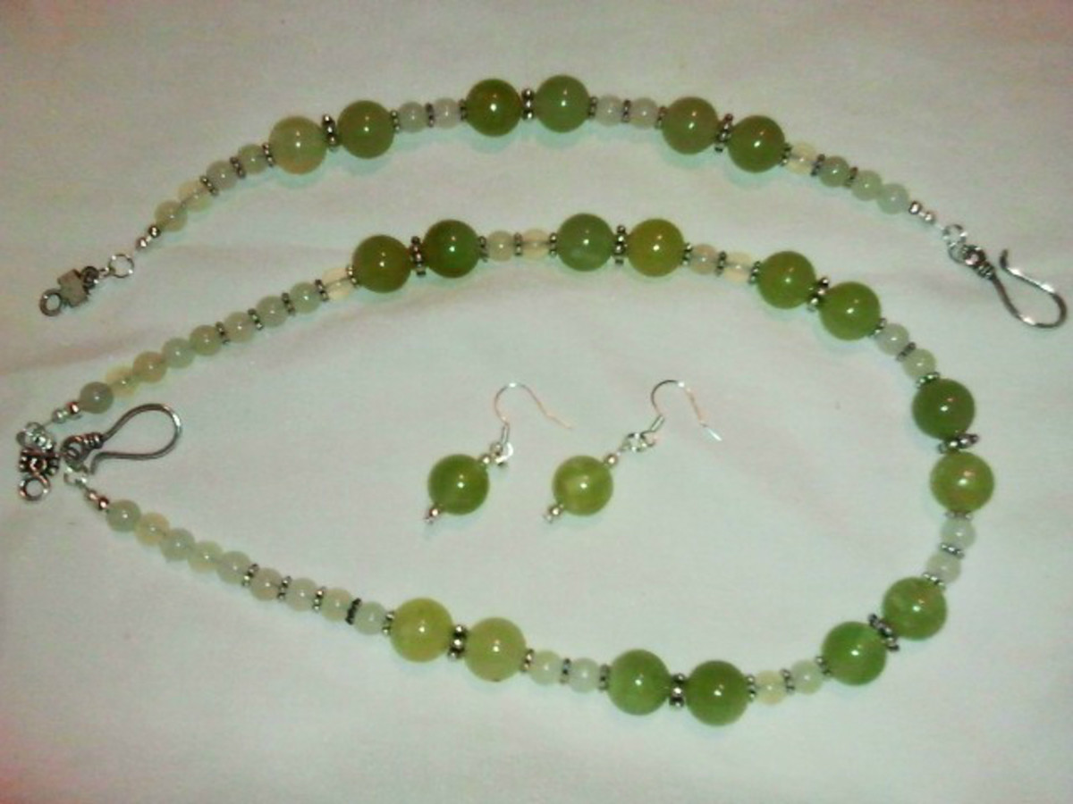 A pretty green and yellow jade necklace, earrings and bracelet set that I made with those little bitty beads I talked about earlier. See the chart below to find out what my base cost is for this set.