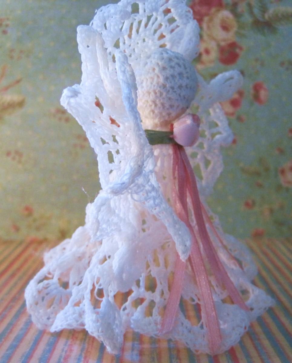 Side View of Crochet Angel Ornament