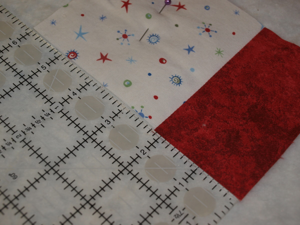 Measure to see how long the next fabric strip needs to be.